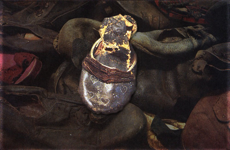 Photograph of shoe in Auschwitz