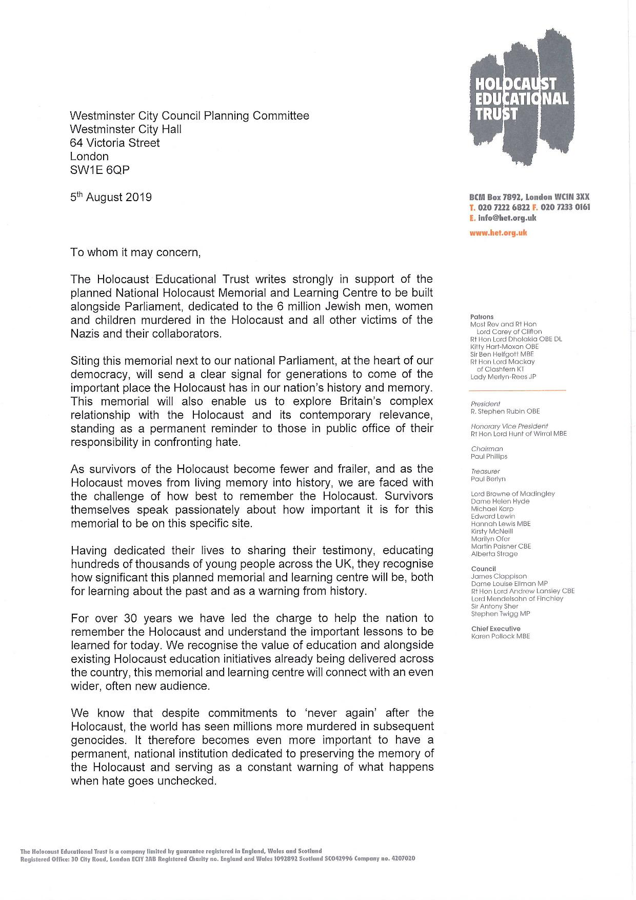 Westminster Council HET Letter of Support Page 1