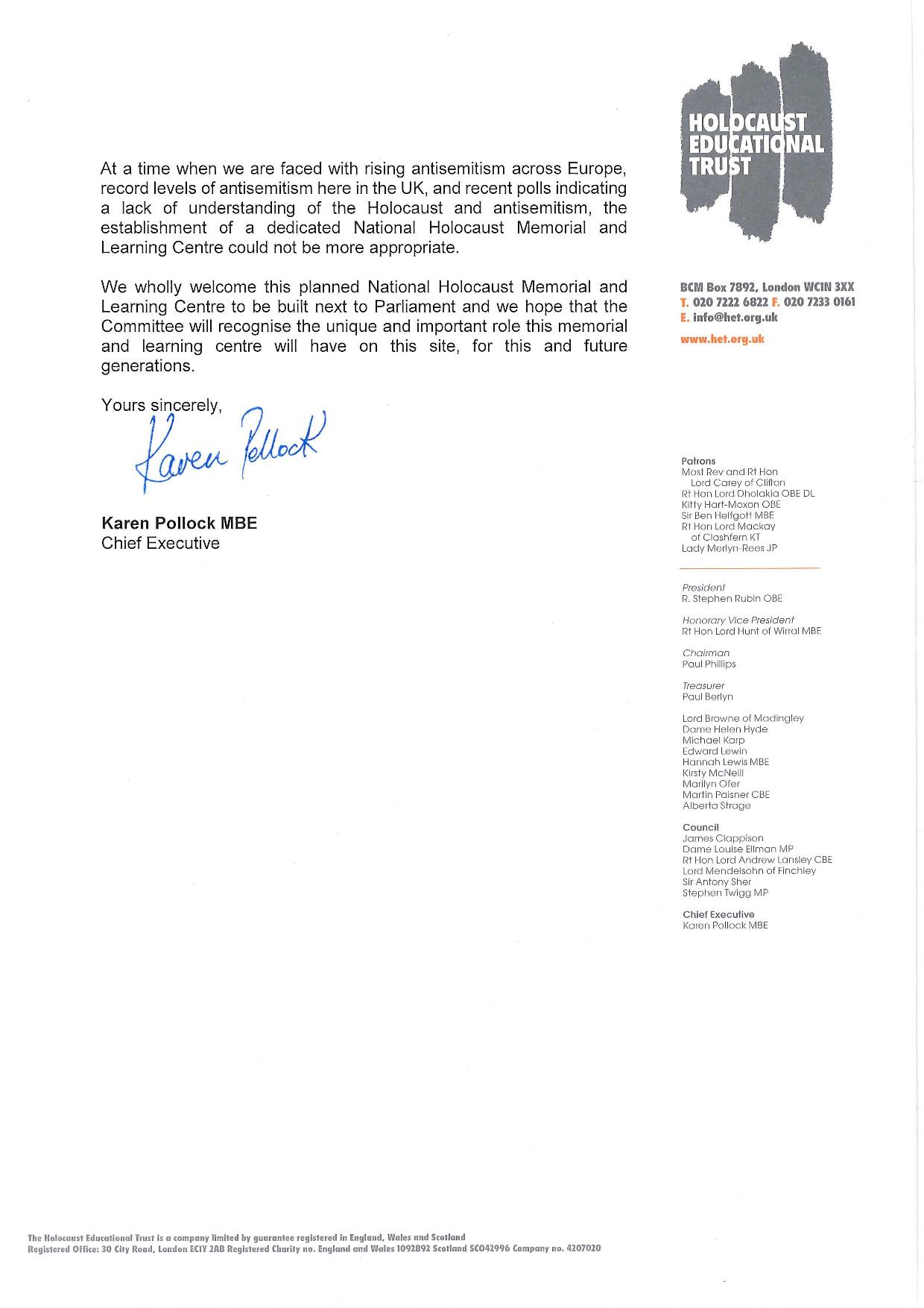 Westminster Council HET Letter of Support Page 2